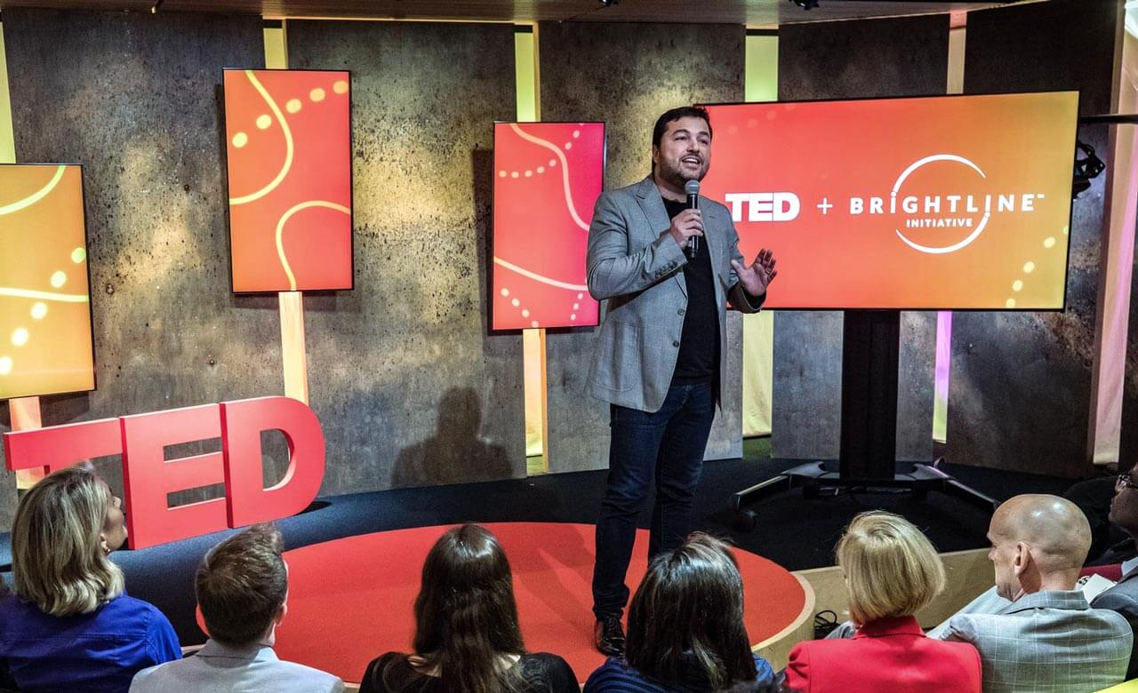 Ricardo introducing the Brightline Initiative at the TED Headquarters in Nova York City.